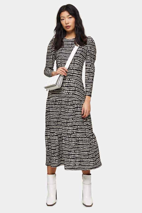 petite black and white abstract tiered midi dress